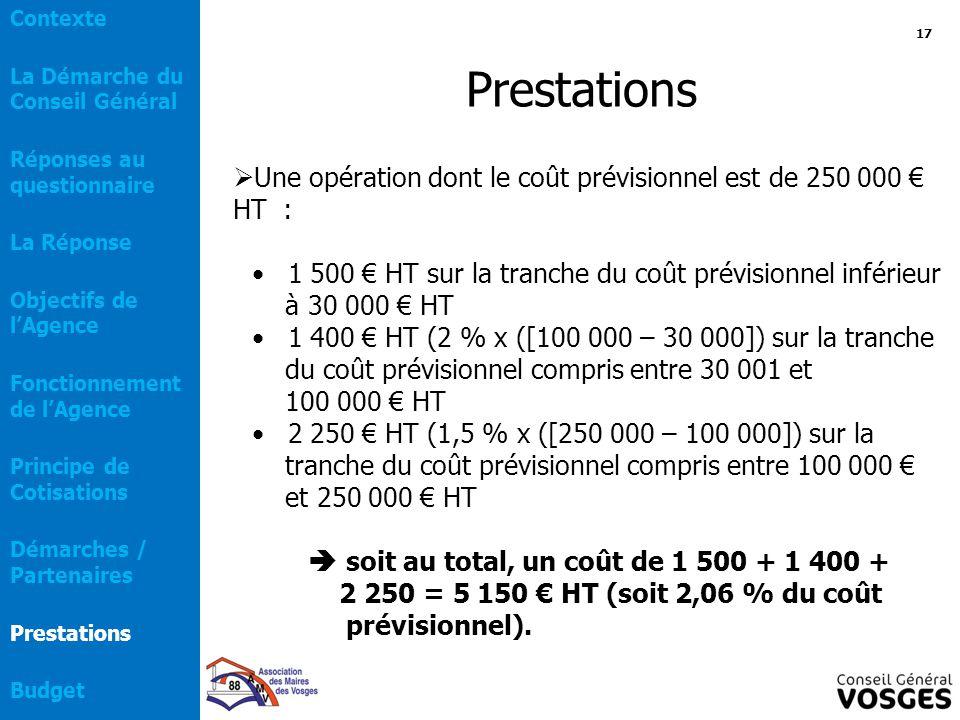 Prestations  Une opération dont le coût prévisionnel est de 250 000 € HT : 1 500 € HT sur la tranche du coût prévisionnel inférieur à 30 000 € HT 1 4