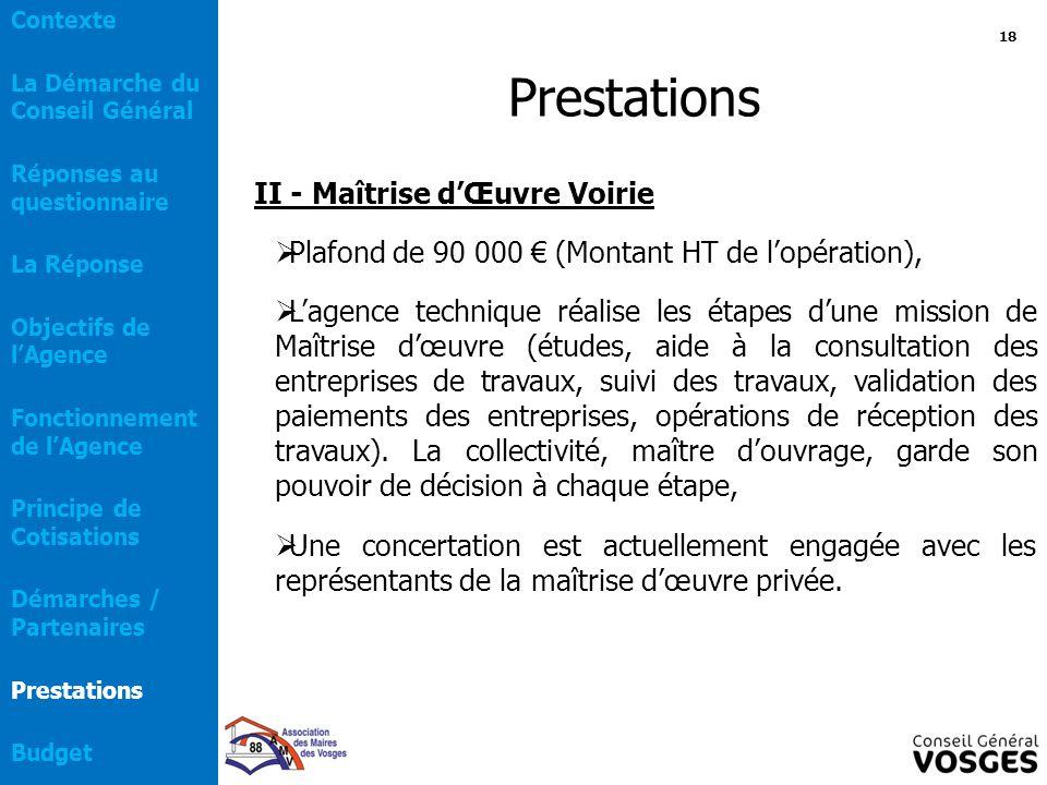 Prestations II - Maîtrise d'Œuvre Voirie  Plafond de 90 000 € (Montant HT de l'opération),  L'agence technique réalise les étapes d'une mission de M