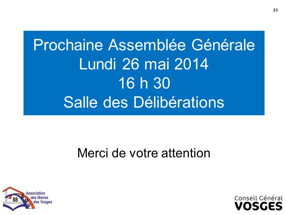 Prochaine Assemblée Générale Lundi 26 mai 2014 16 h 30 Salle des Délibérations Merci de votre attention 23