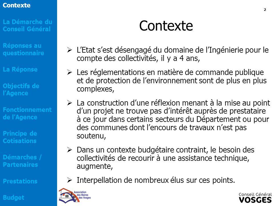 Contexte  L'Etat s'est désengagé du domaine de l'Ingénierie pour le compte des collectivités, il y a 4 ans,  Les réglementations en matière de comma