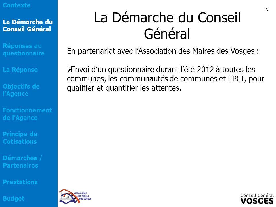 La Démarche du Conseil Général En partenariat avec l'Association des Maires des Vosges :  Envoi d'un questionnaire durant l'été 2012 à toutes les com