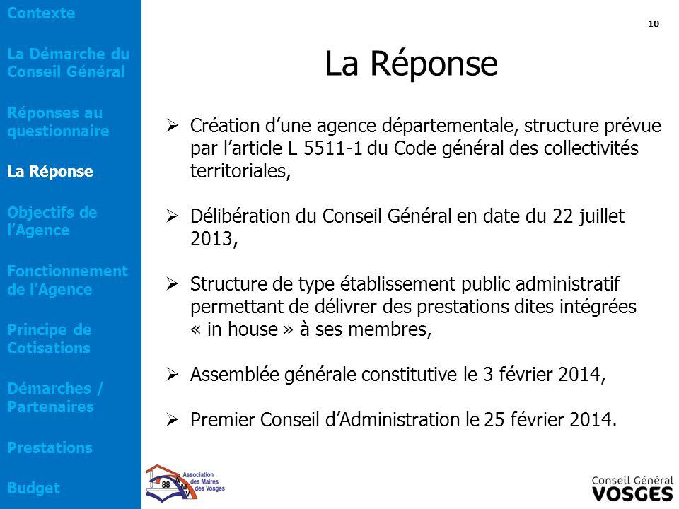 La Réponse  Création d'une agence départementale, structure prévue par l'article L 5511-1 du Code général des collectivités territoriales,  Délibéra