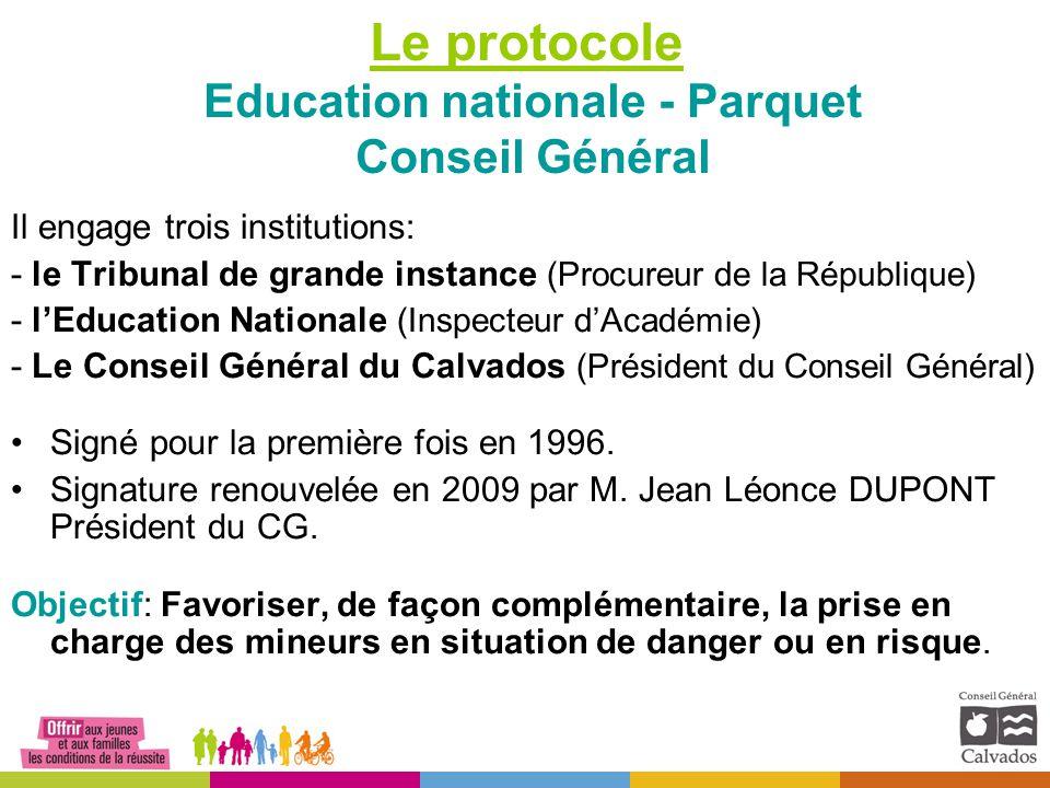 Le protocole Education nationale - Parquet Conseil Général Il engage trois institutions: - le Tribunal de grande instance (Procureur de la République)