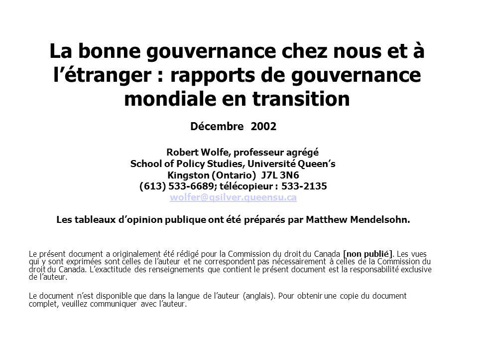La bonne gouvernance chez nous et à l'étranger : rapports de gouvernance mondiale en transition Décembre 2002 Robert Wolfe, professeur agrégé School o