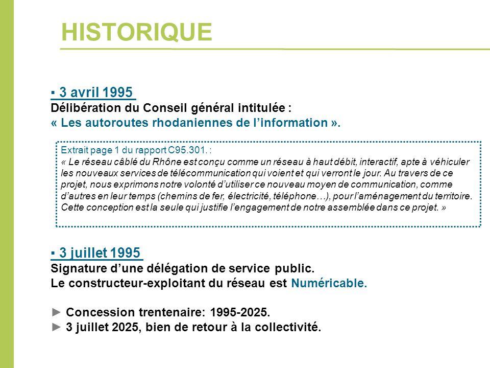 ▪ 3 avril 1995 Délibération du Conseil général intitulée : « Les autoroutes rhodaniennes de l'information ». ▪ 3 juillet 1995 Signature d'une délégati
