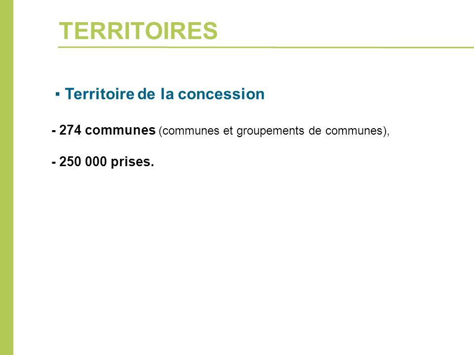 ▪ Territoire de la concession - 274 communes (communes et groupements de communes), - 250 000 prises. TERRITOIRES