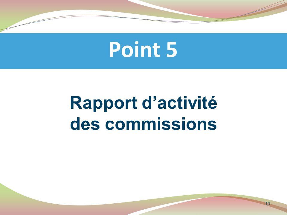 Rapport d'activité des commissions Point 5 10
