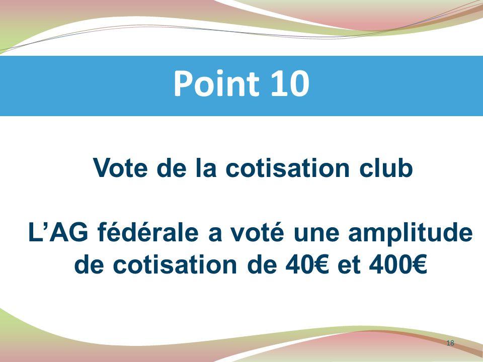 Vote de la cotisation club L'AG fédérale a voté une amplitude de cotisation de 40€ et 400€ Point 10 18