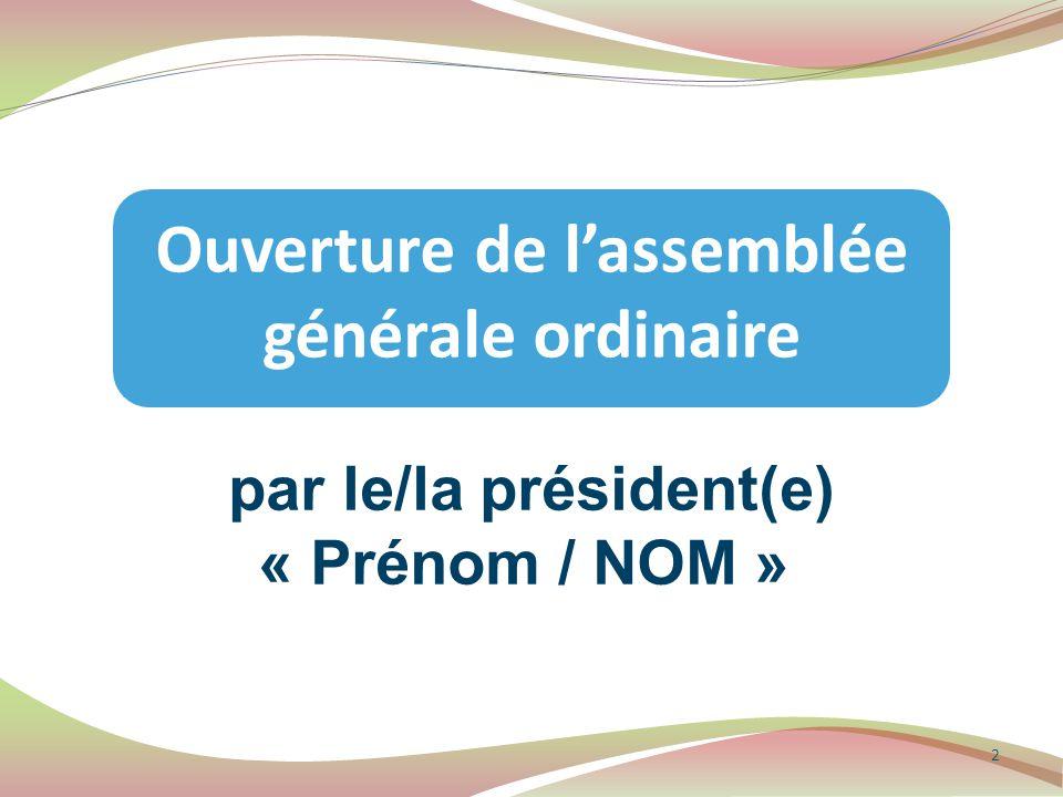 Article 5 : fonctionnement […] Pour délibérer valablement, l'assemblée générale doit réunir au moins la moitié des membres représentant au moins la moitié des voix.