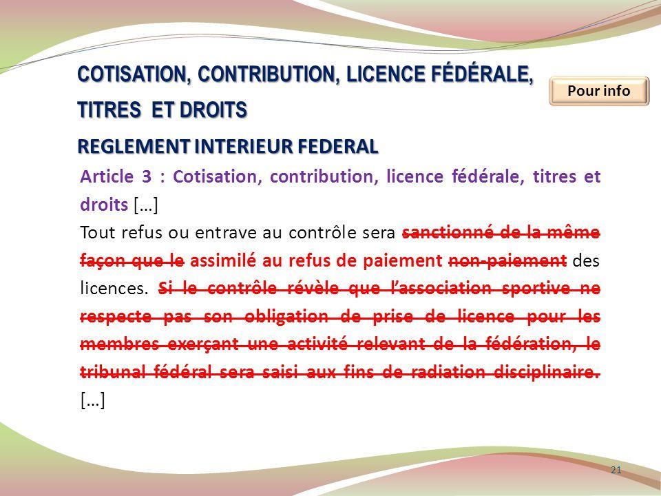 21 Pour info COTISATION, CONTRIBUTION, LICENCE FÉDÉRALE, TITRES ET DROITS REGLEMENT INTERIEUR FEDERAL Article 3 : Cotisation, contribution, licence fé
