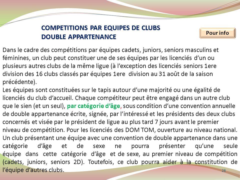28 Pour info COMPETITIONS PAR EQUIPES DE CLUBS DOUBLE APPARTENANCE Dans le cadre des compétitions par équipes cadets, juniors, seniors masculins et fé