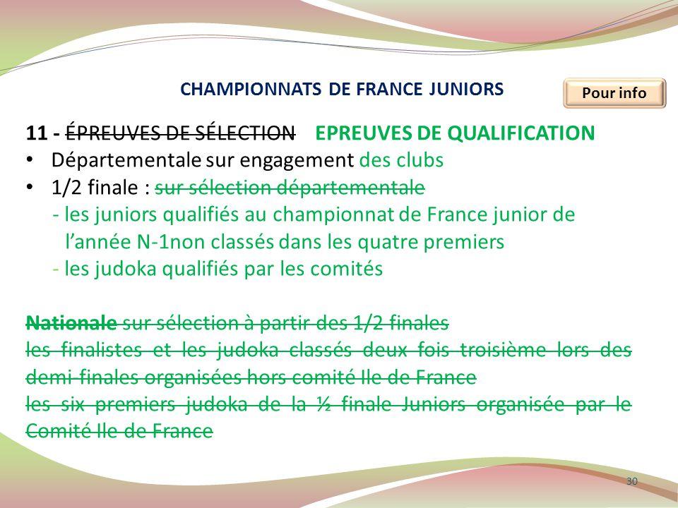 30 Pour info 11 - ÉPREUVES DE SÉLECTION EPREUVES DE QUALIFICATION Départementale sur engagement des clubs 1/2 finale : sur sélection départementale -