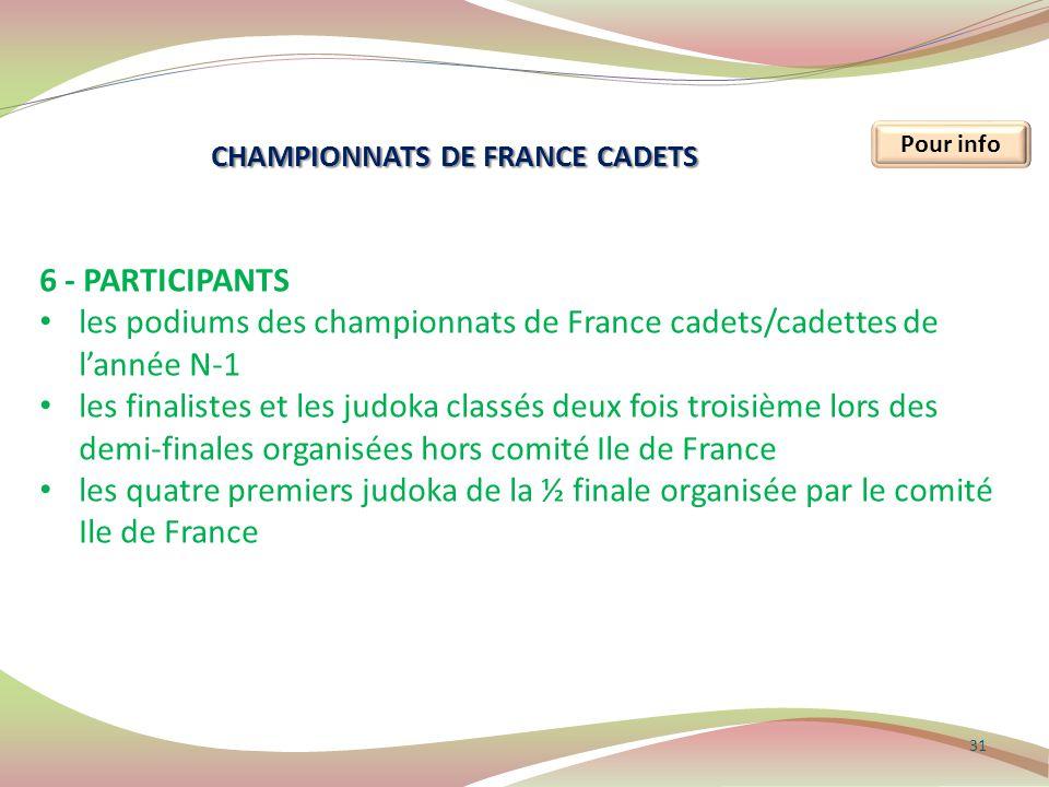 31 Pour info 6 - PARTICIPANTS les podiums des championnats de France cadets/cadettes de l'année N-1 les finalistes et les judoka classés deux fois tro