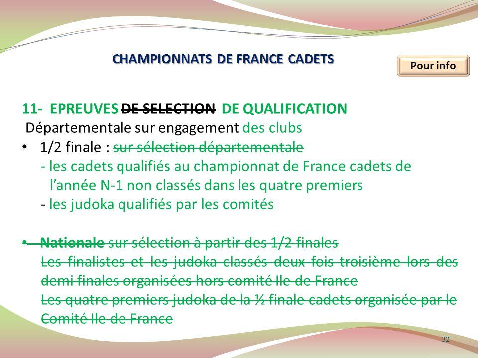 32 Pour info 11- EPREUVES DE SELECTION DE QUALIFICATION Départementale sur engagement des clubs 1/2 finale : sur sélection départementale - les cadets