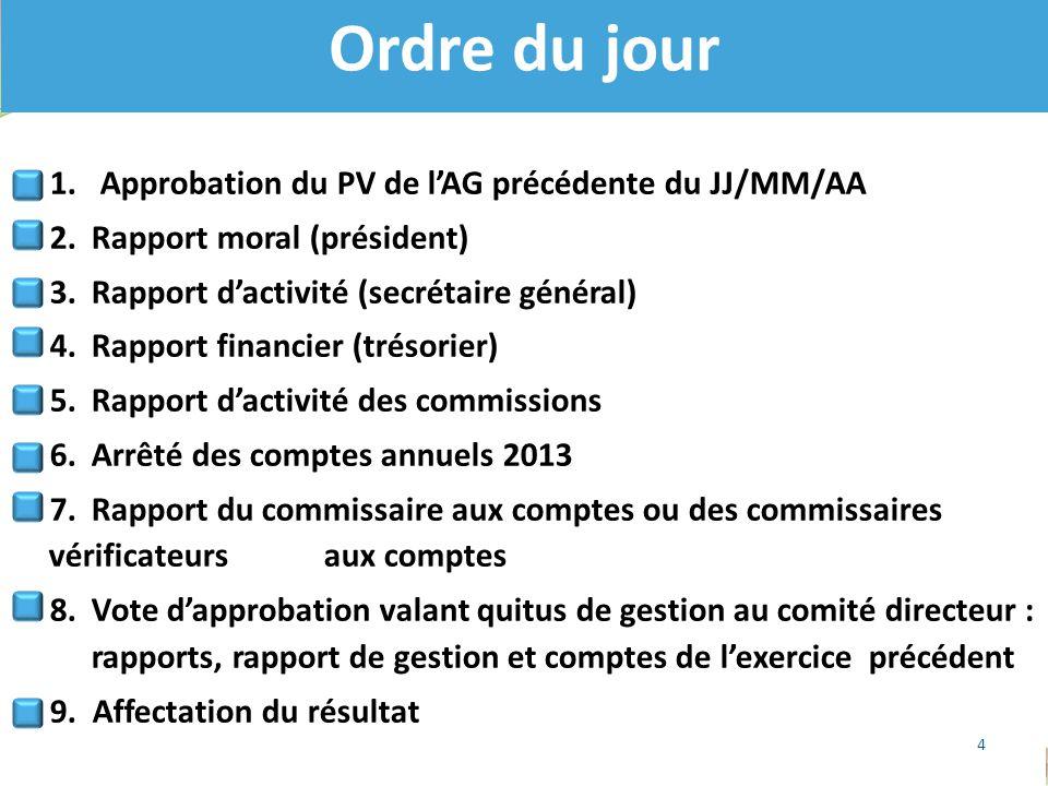 1. Approbation du PV de l'AG précédente du JJ/MM/AA 2.Rapport moral (président) 3.Rapport d'activité (secrétaire général) 4.Rapport financier (trésori
