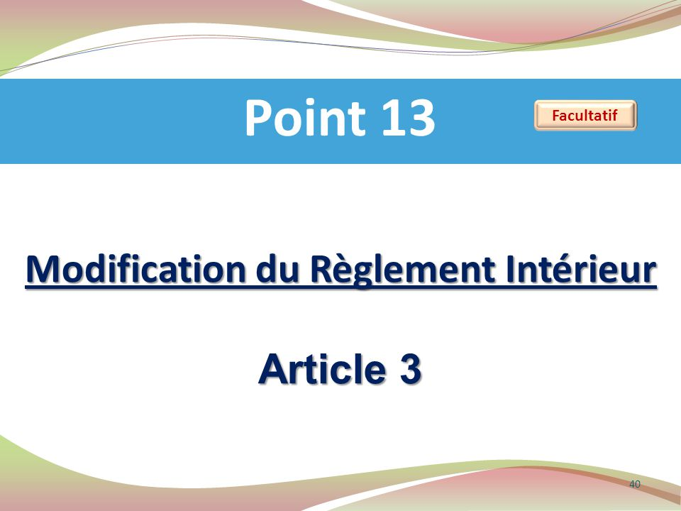 Modification du Règlement Intérieur Article 3 Point 13 40 Facultatif