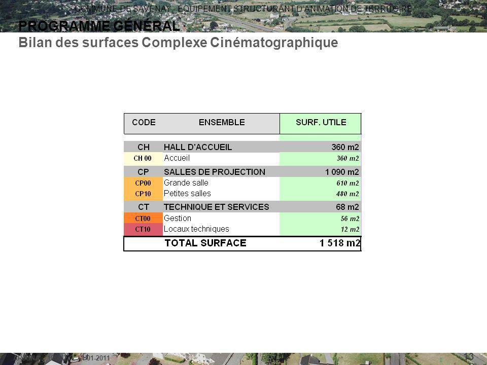 COMMUNE DE SAVENAY - ÉQUIPEMENT STRUCTURANT D'ANIMATION DE TERRITOIRE ARJUNA - 1006-2-G / 4-01-2011 13 PROGRAMME GÉNÉRAL Bilan des surfaces Complexe C