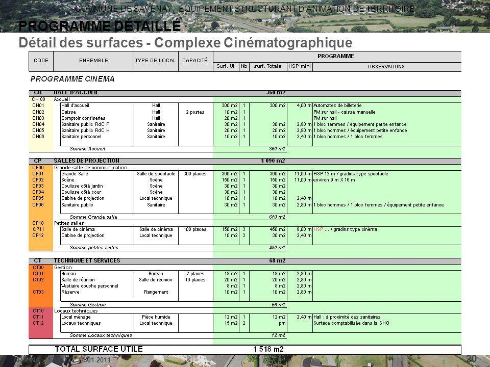 COMMUNE DE SAVENAY - ÉQUIPEMENT STRUCTURANT D'ANIMATION DE TERRITOIRE ARJUNA - 1006-2-G / 4-01-2011 20 PROGRAMME DÉTAILLÉ Détail des surfaces - Comple