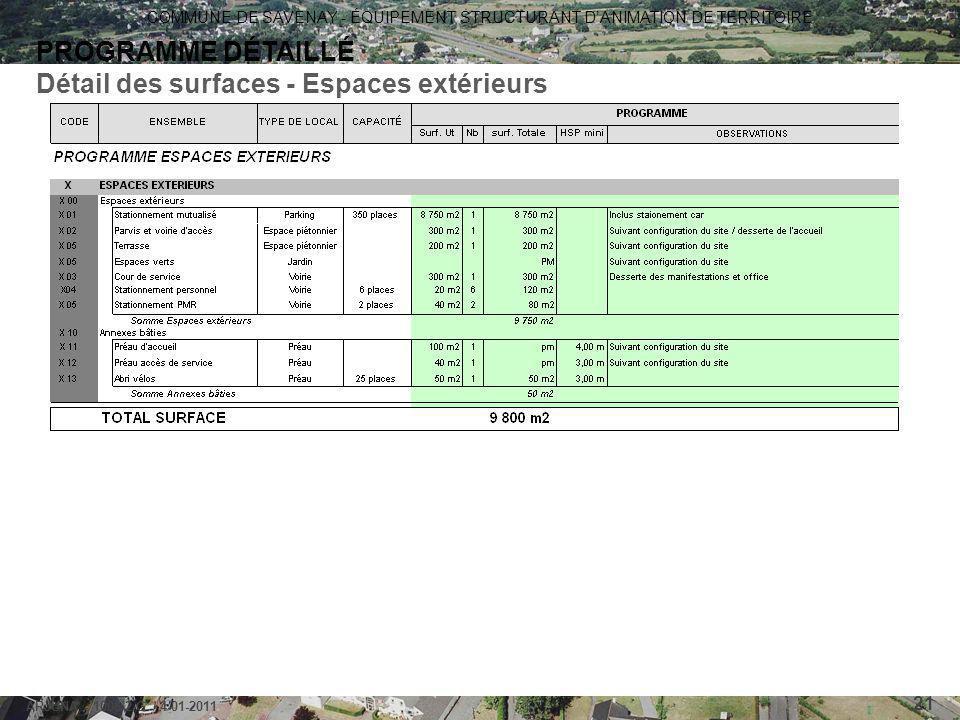 COMMUNE DE SAVENAY - ÉQUIPEMENT STRUCTURANT D'ANIMATION DE TERRITOIRE ARJUNA - 1006-2-G / 4-01-2011 21 PROGRAMME DÉTAILLÉ Détail des surfaces - Espace