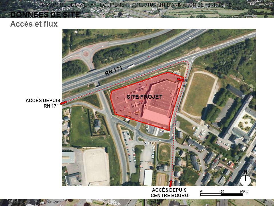 COMMUNE DE SAVENAY - ÉQUIPEMENT STRUCTURANT D'ANIMATION DE TERRITOIRE ARJUNA - 1006-2-G / 4-01-2011 6 DONNEES DE SITE Accès et flux 0 50 100 m SITE PR