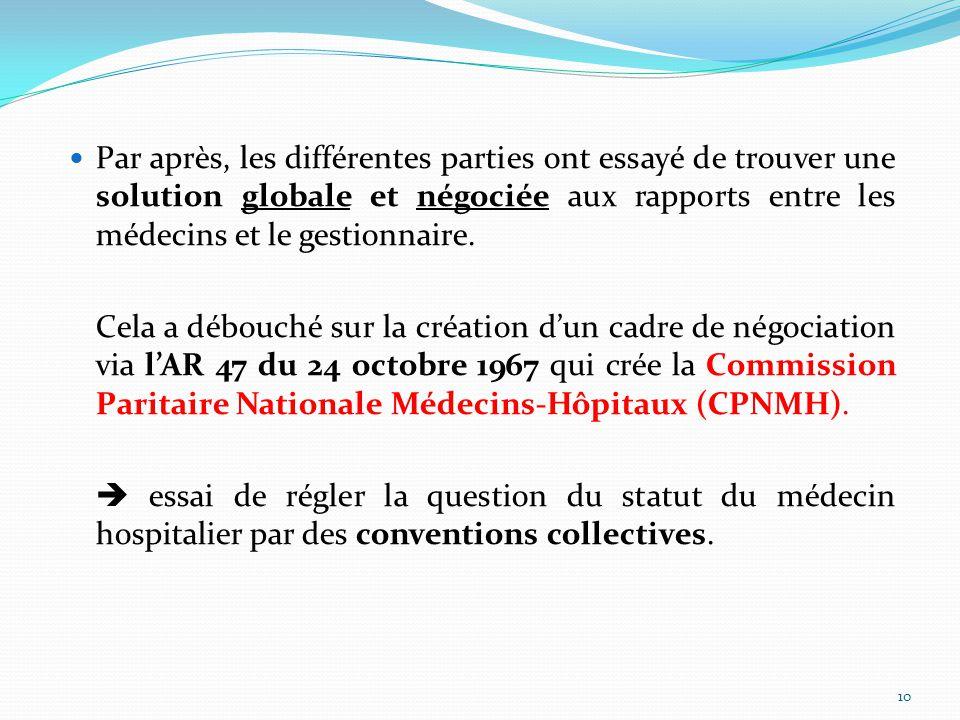 Par après, les différentes parties ont essayé de trouver une solution globale et négociée aux rapports entre les médecins et le gestionnaire.