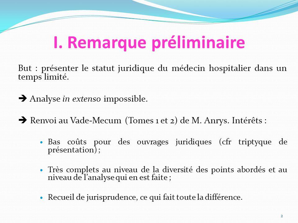 I. Remarque préliminaire But : présenter le statut juridique du médecin hospitalier dans un temps limité.  Analyse in extenso impossible.  Renvoi au