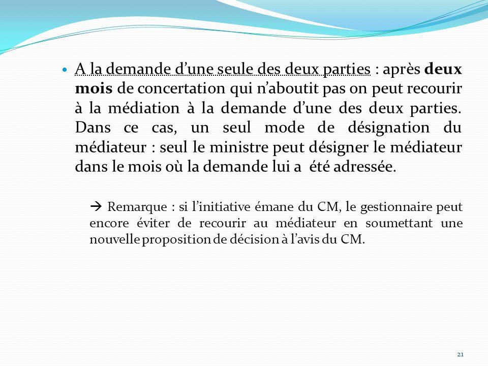A la demande d'une seule des deux parties : après deux mois de concertation qui n'aboutit pas on peut recourir à la médiation à la demande d'une des deux parties.