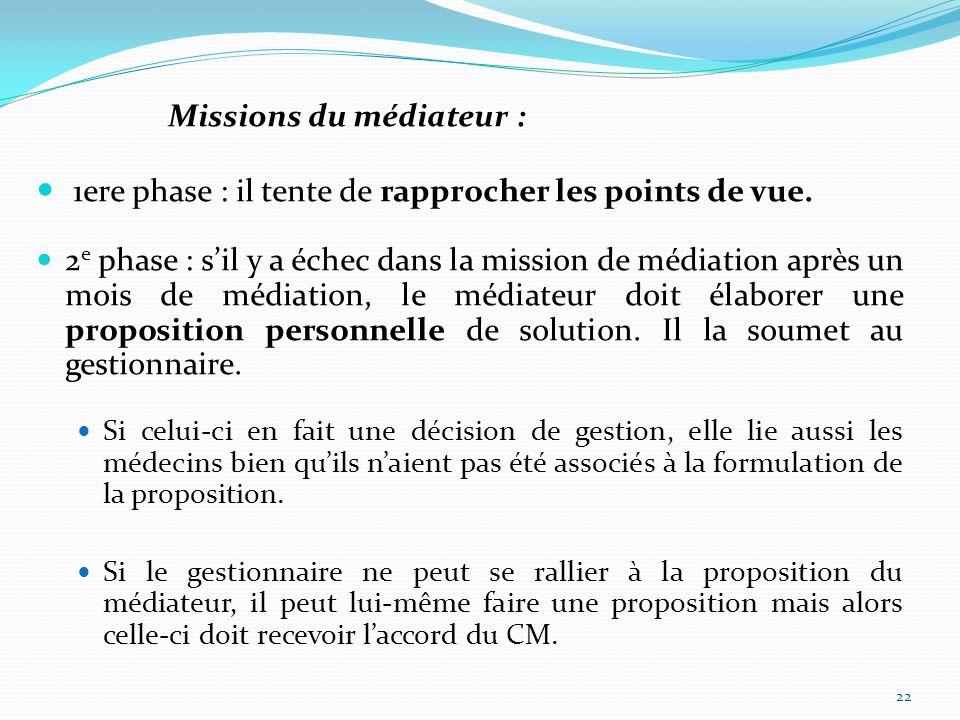 Missions du médiateur : 1ere phase : il tente de rapprocher les points de vue.