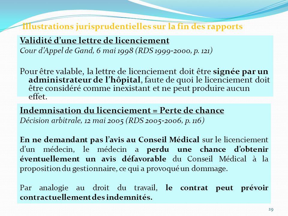 Validité d'une lettre de licenciement Cour d'Appel de Gand, 6 mai 1998 (RDS 1999-2000, p.
