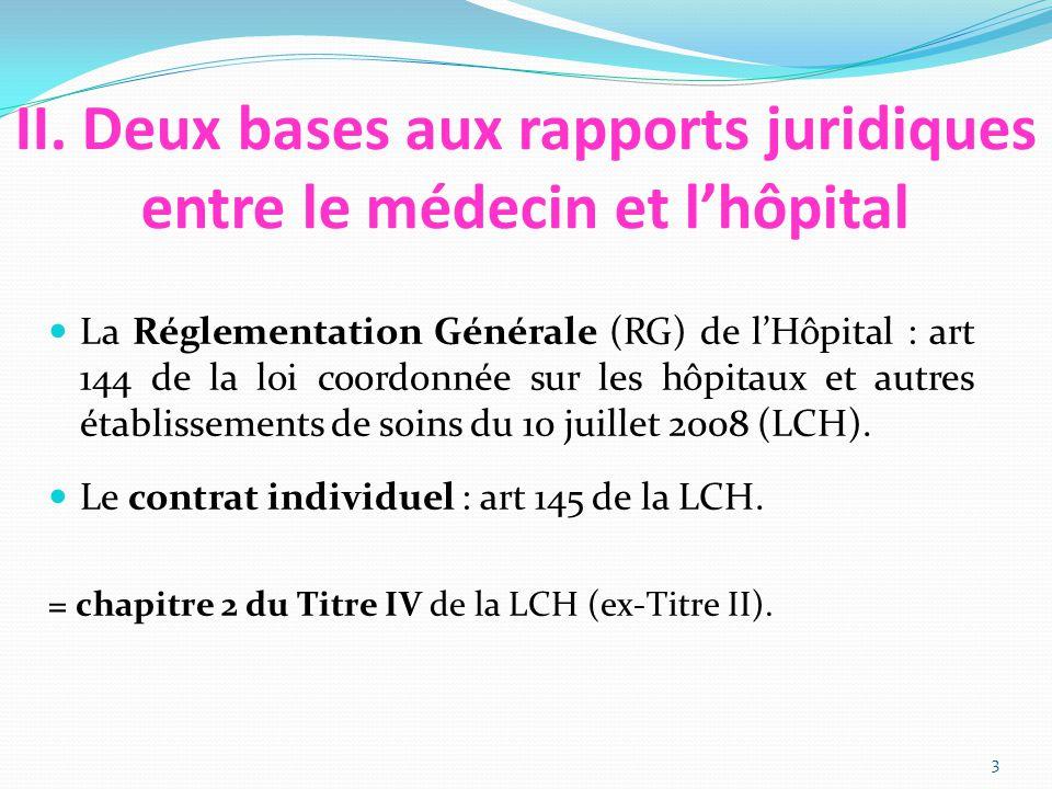 II. Deux bases aux rapports juridiques entre le médecin et l'hôpital La Réglementation Générale (RG) de l'Hôpital : art 144 de la loi coordonnée sur l