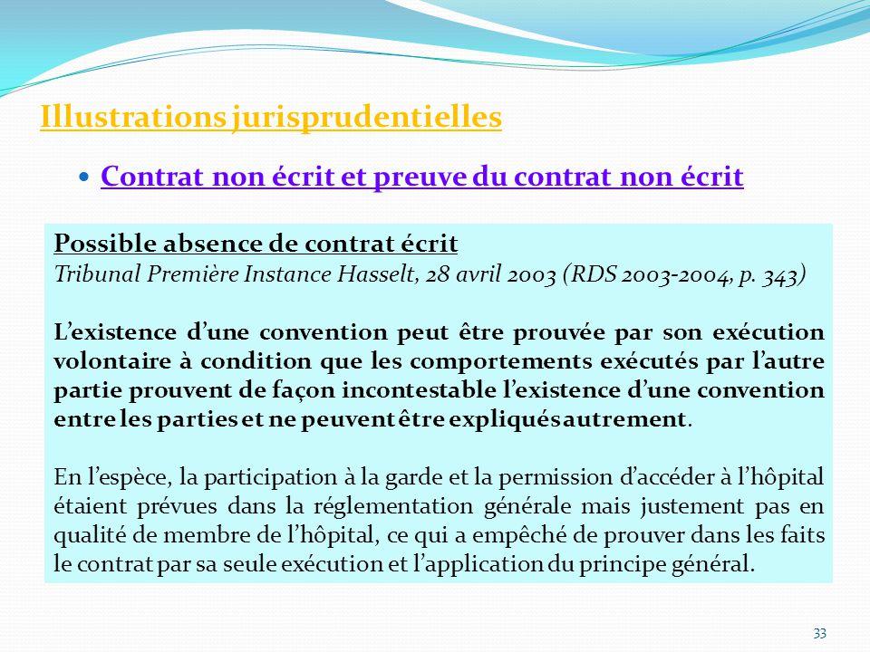 Illustrations jurisprudentielles Contrat non écrit et preuve du contrat non écrit 33 Possible absence de contrat écrit Tribunal Première Instance Hasselt, 28 avril 2003 (RDS 2003-2004, p.