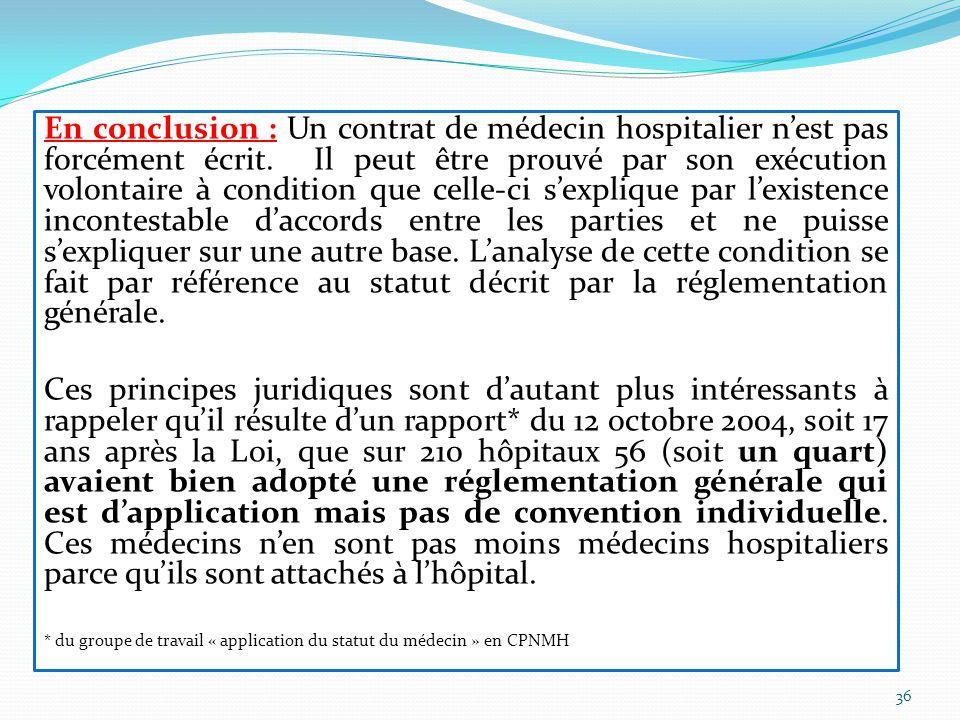 En conclusion : Un contrat de médecin hospitalier n'est pas forcément écrit.