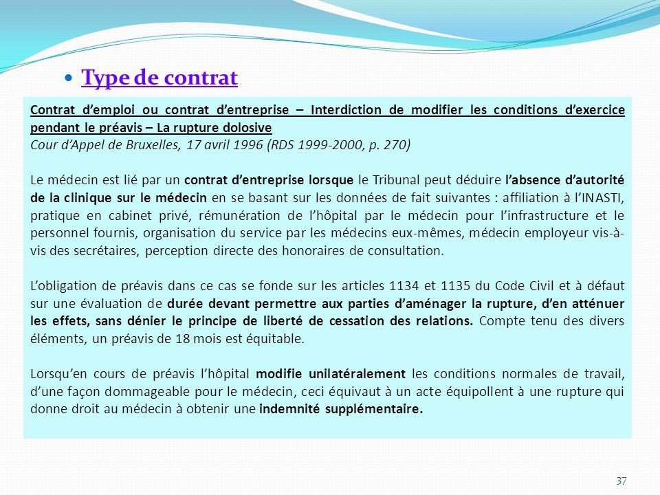 Type de contrat 37 Contrat d'emploi ou contrat d'entreprise – Interdiction de modifier les conditions d'exercice pendant le préavis – La rupture dolosive Cour d'Appel de Bruxelles, 17 avril 1996 (RDS 1999-2000, p.