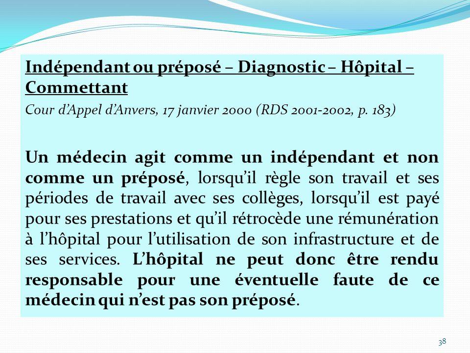 Indépendant ou préposé – Diagnostic – Hôpital – Commettant Cour d'Appel d'Anvers, 17 janvier 2000 (RDS 2001-2002, p.