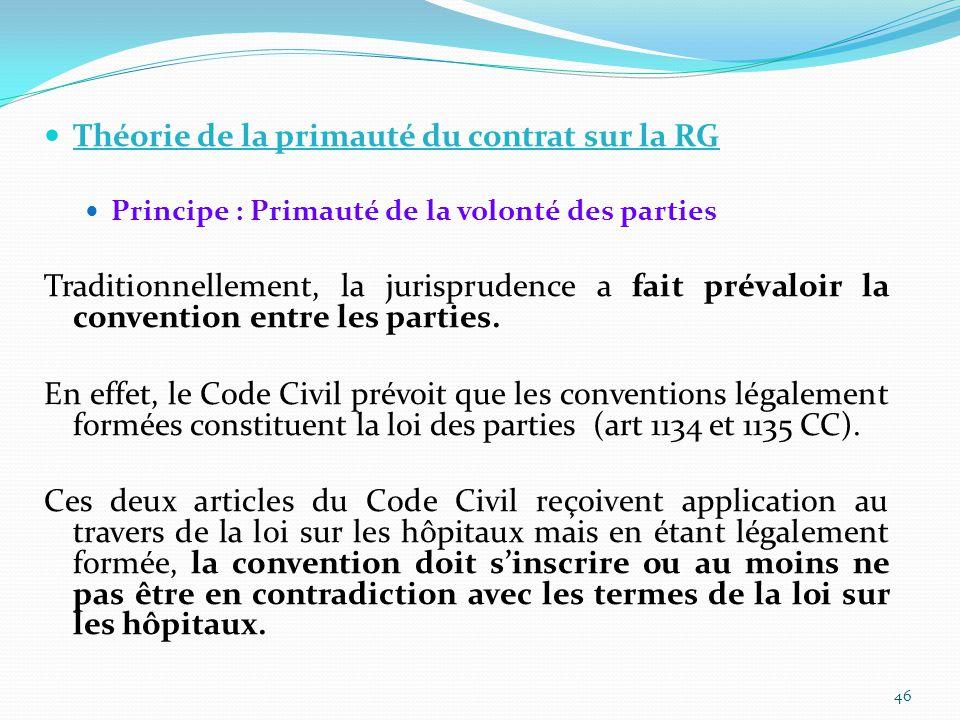 Théorie de la primauté du contrat sur la RG Principe : Primauté de la volonté des parties Traditionnellement, la jurisprudence a fait prévaloir la convention entre les parties.