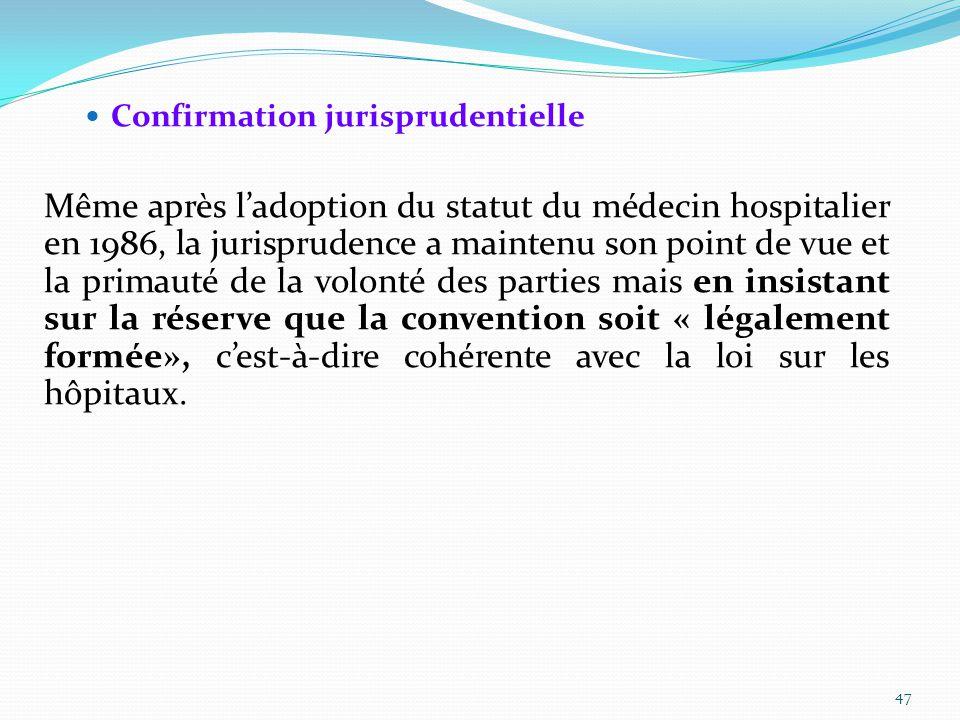 Confirmation jurisprudentielle Même après l'adoption du statut du médecin hospitalier en 1986, la jurisprudence a maintenu son point de vue et la primauté de la volonté des parties mais en insistant sur la réserve que la convention soit « légalement formée», c'est-à-dire cohérente avec la loi sur les hôpitaux.