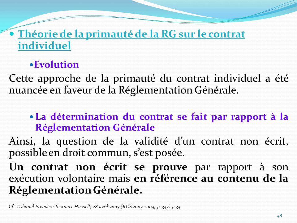 Théorie de la primauté de la RG sur le contrat individuel Evolution Cette approche de la primauté du contrat individuel a été nuancée en faveur de la Réglementation Générale.