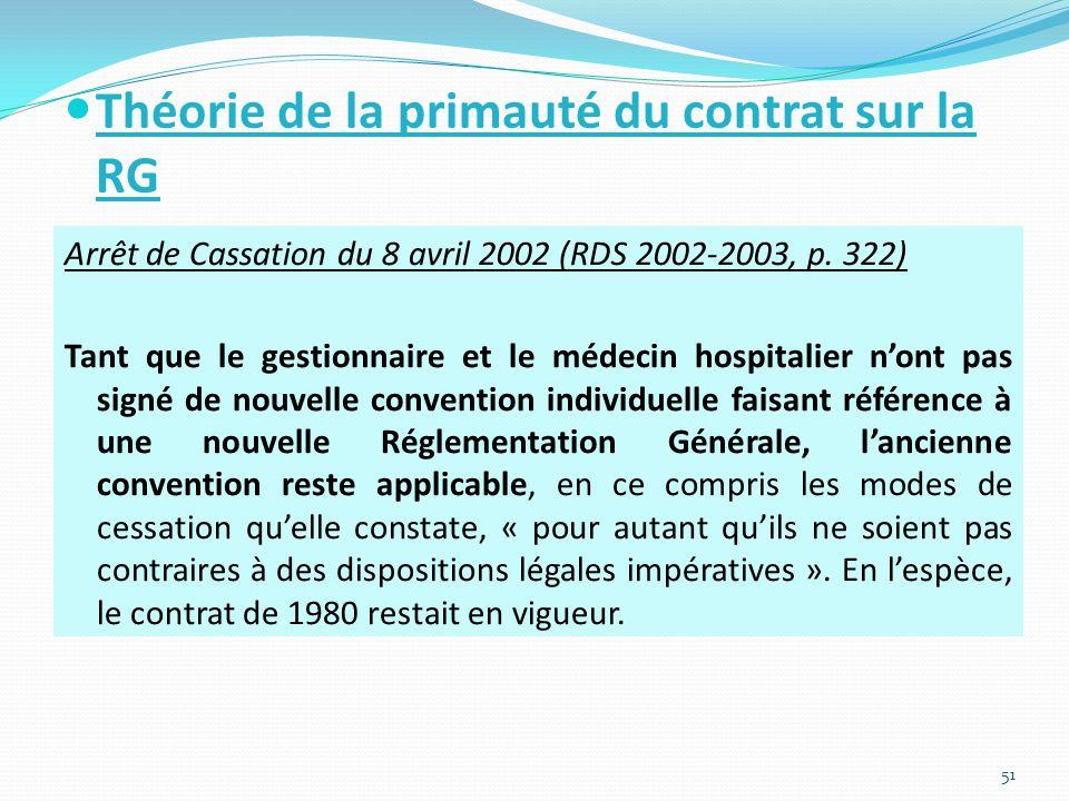 Théorie de la primauté du contrat sur la RG Arrêt de Cassation du 8 avril 2002 (RDS 2002-2003, p.