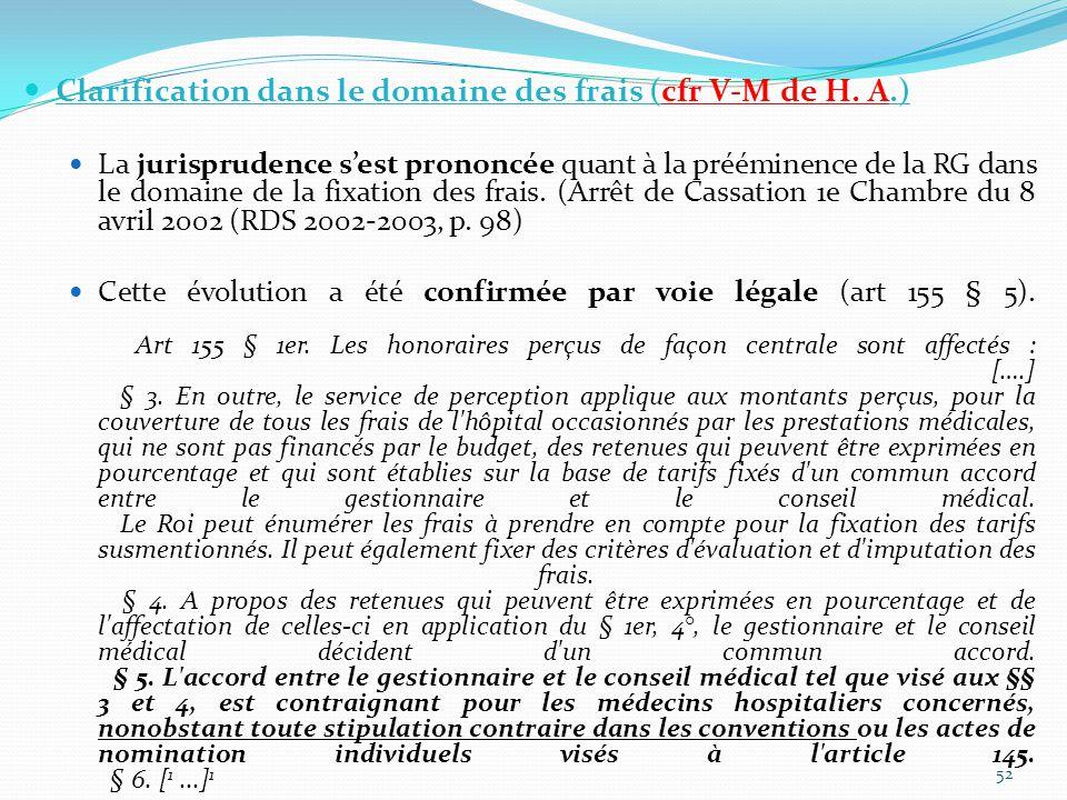 Clarification dans le domaine des frais (cfr V-M de H.