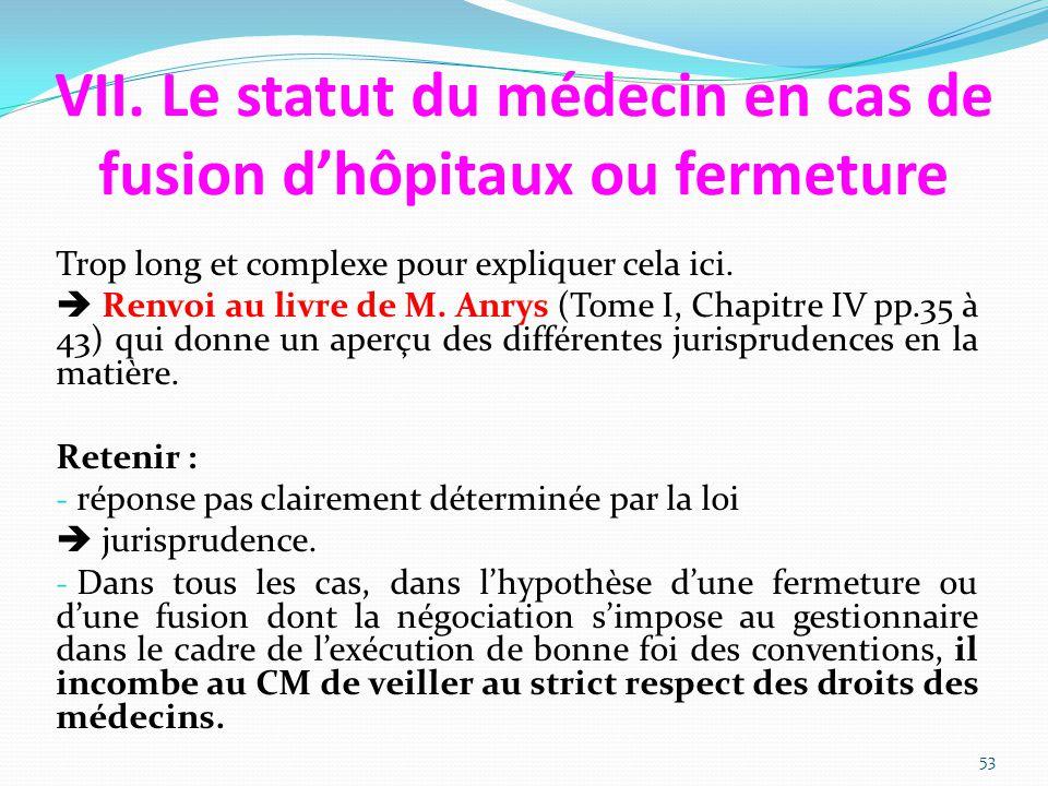 VII. Le statut du médecin en cas de fusion d'hôpitaux ou fermeture Trop long et complexe pour expliquer cela ici.  Renvoi au livre de M. Anrys (Tome