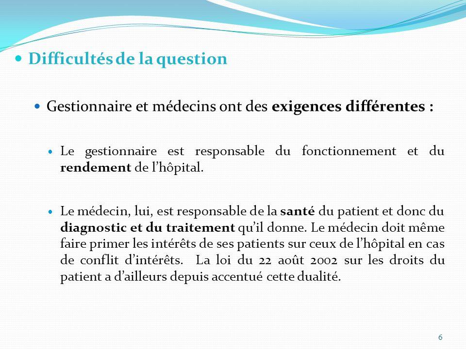 Difficultés de la question Gestionnaire et médecins ont des exigences différentes : Le gestionnaire est responsable du fonctionnement et du rendement de l'hôpital.