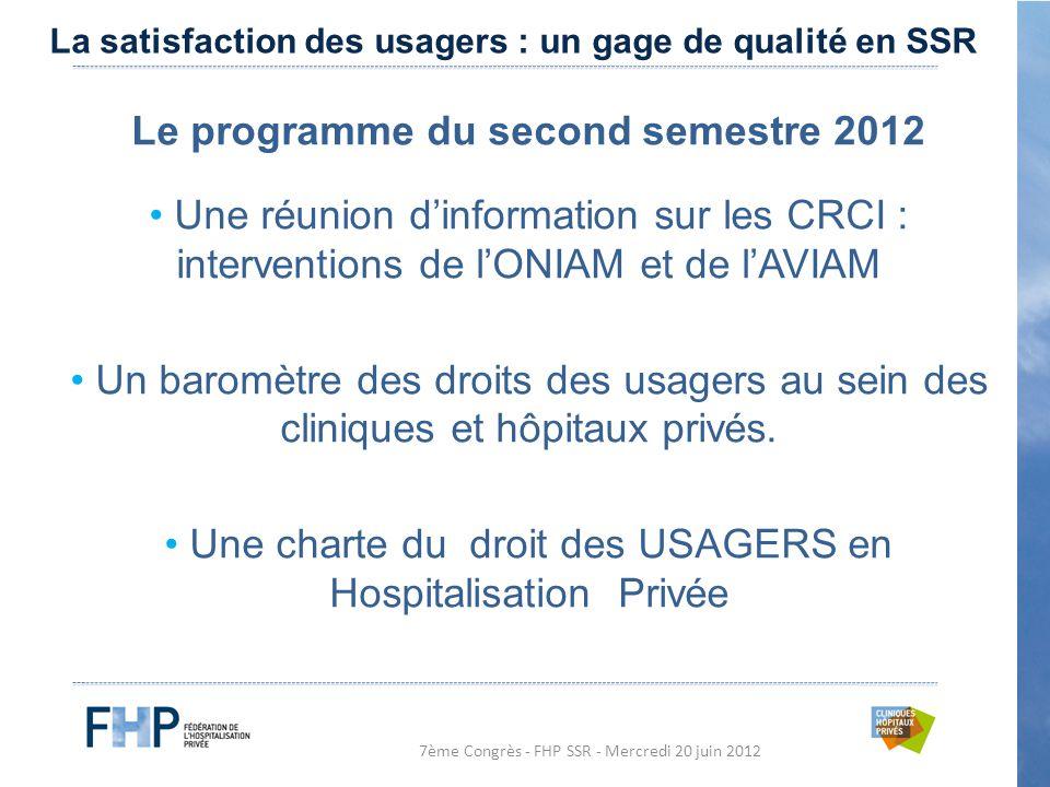 7ème Congrès - FHP SSR - Mercredi 20 juin 2012 Le programme du second semestre 2012 Une réunion d'information sur les CRCI : interventions de l'ONIAM et de l'AVIAM Un baromètre des droits des usagers au sein des cliniques et hôpitaux privés.
