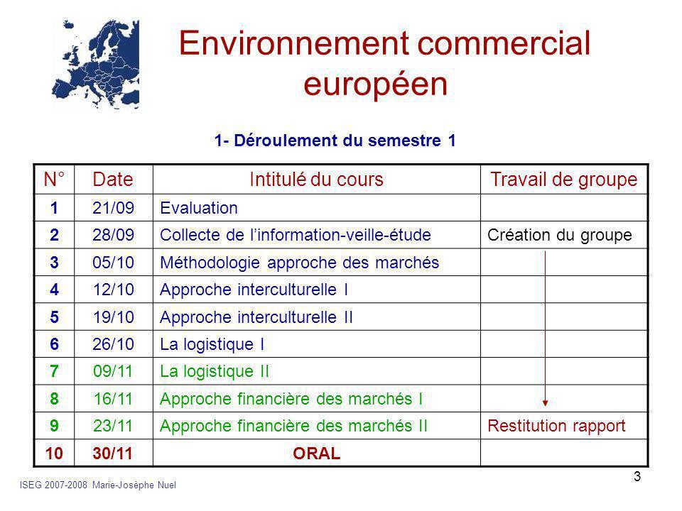 3 Environnement commercial européen ISEG 2007-2008 Marie-Josèphe Nuel N°DateIntitulé du coursTravail de groupe 121/09Evaluation 228/09Collecte de l'in