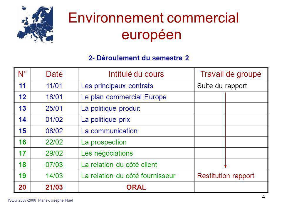 4 Environnement commercial européen ISEG 2007-2008 Marie-Josèphe Nuel N°DateIntitulé du coursTravail de groupe 1111/01Les principaux contratsSuite du