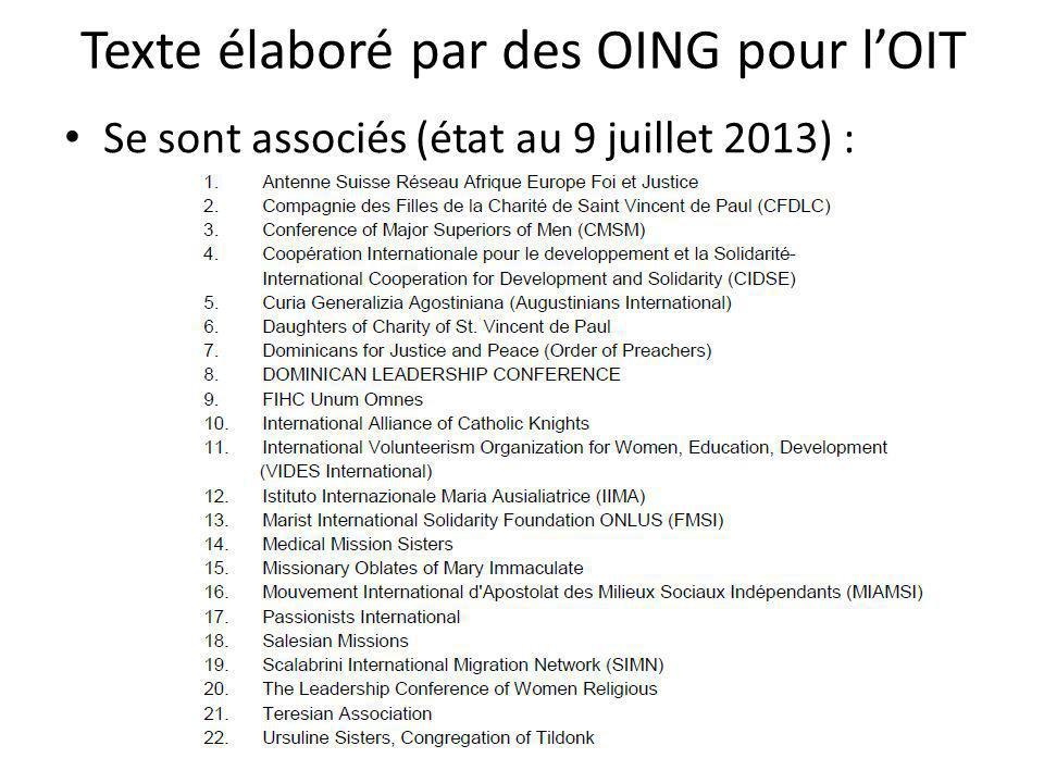 Texte élaboré par des OING pour l'OIT Se sont associés (état au 9 juillet 2013) :