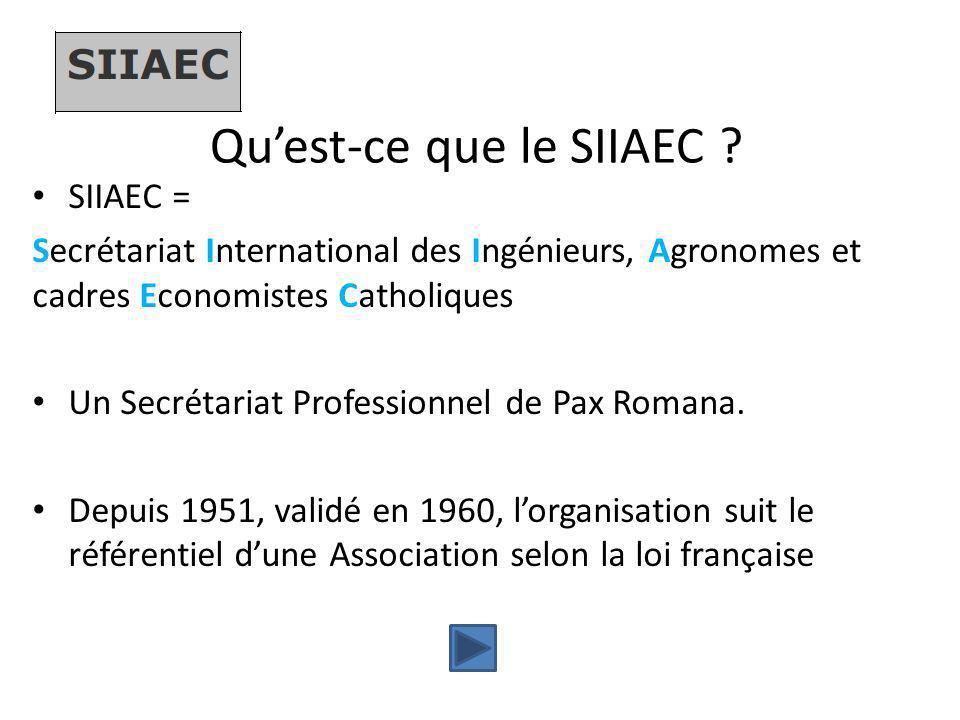 Qu'est-ce que le SIIAEC ? SIIAEC = Secrétariat International des Ingénieurs, Agronomes et cadres Economistes Catholiques Un Secrétariat Professionnel