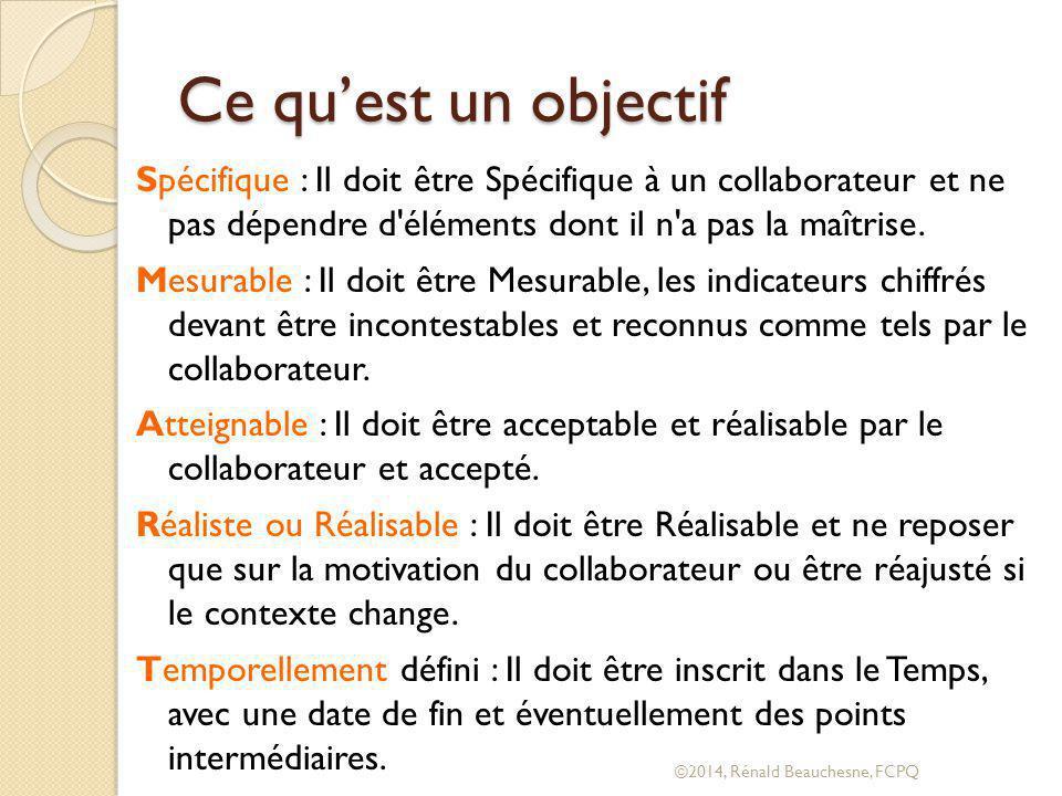 Ce qu'est un objectif Spécifique : Il doit être Spécifique à un collaborateur et ne pas dépendre d éléments dont il n a pas la maîtrise.