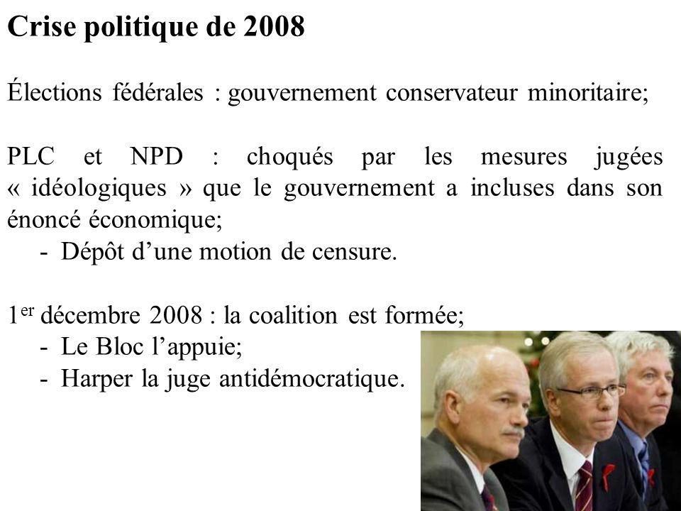 Crise politique de 2008 Élections fédérales : gouvernement conservateur minoritaire; PLC et NPD : choqués par les mesures jugées « idéologiques » que le gouvernement a incluses dans son énoncé économique; -Dépôt d'une motion de censure.