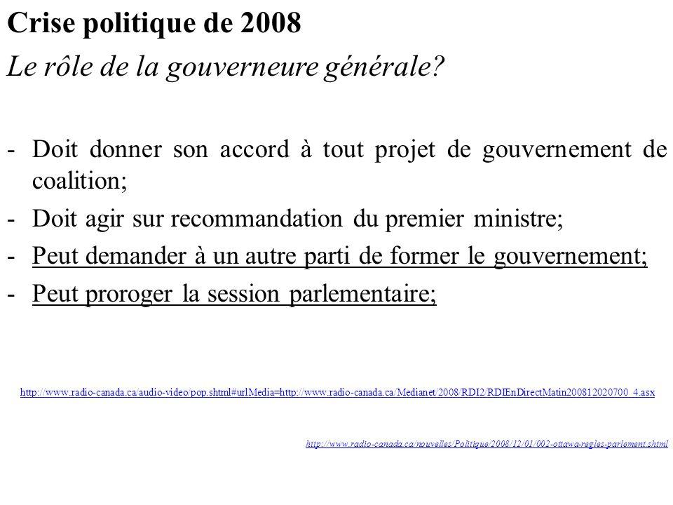 Crise politique de 2008 Le rôle de la gouverneure générale.