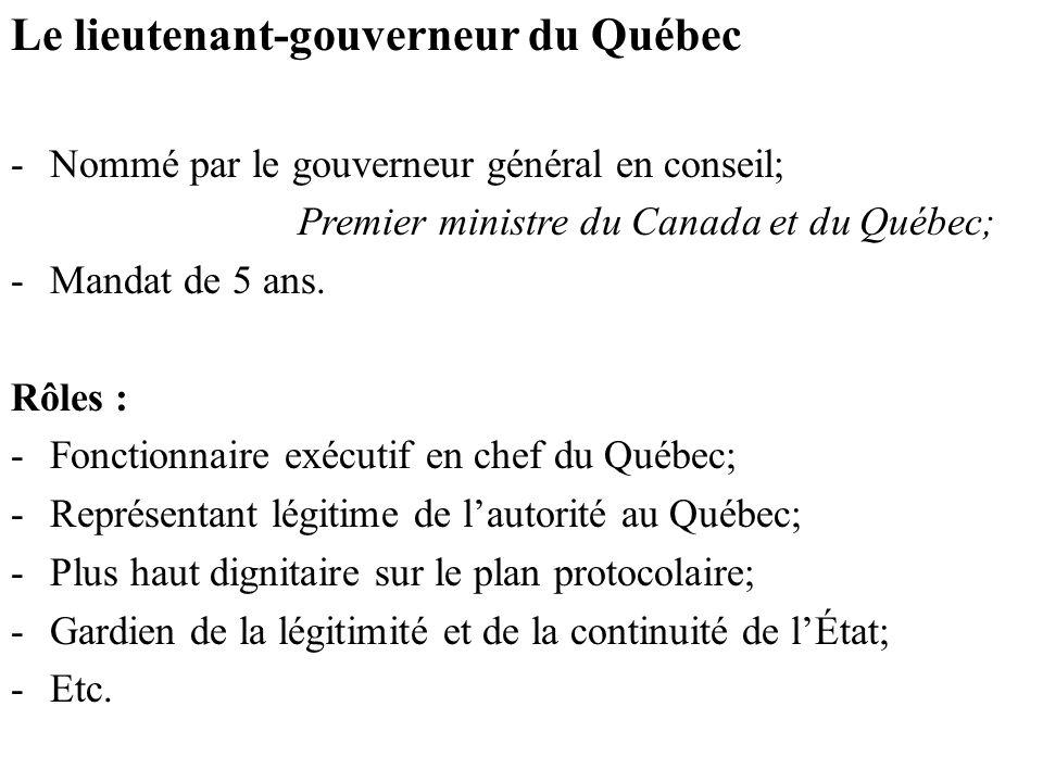 Le lieutenant-gouverneur du Québec -Nommé par le gouverneur général en conseil; Premier ministre du Canada et du Québec; -Mandat de 5 ans.